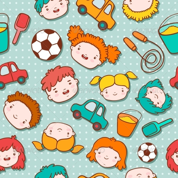 GraphicRiver Seamless Doodle Kids Background 6174340