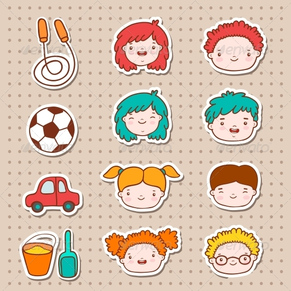 GraphicRiver Doodle Kids Faces Icons 6174343