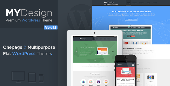 """MYDesign"" is a One Page Multipurpose Flat WP Theme, based on 960 grid, 2 Layered PSD files included. Perfect Flat theme for the creative agency, f"