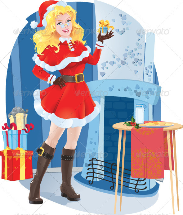 GraphicRiver Santa girl with Christmas Present 6174800