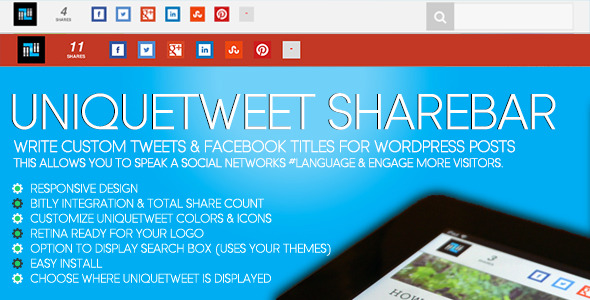 CodeCanyon UniqueTweet Responsive ShareBar for WordPress 6151230