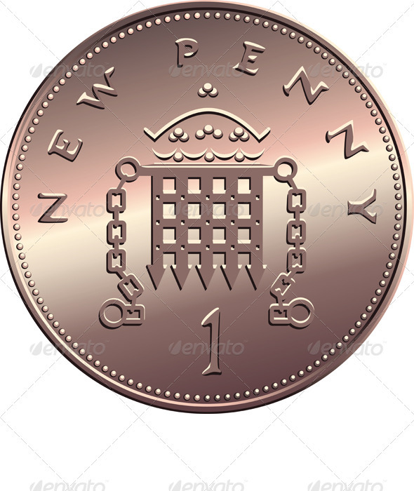 Cartoon Coins Penny Vector british money, coin one