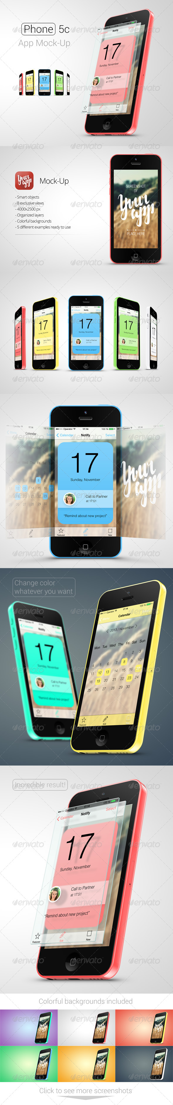 Phone 5c App Mock-Up - Mobile Displays