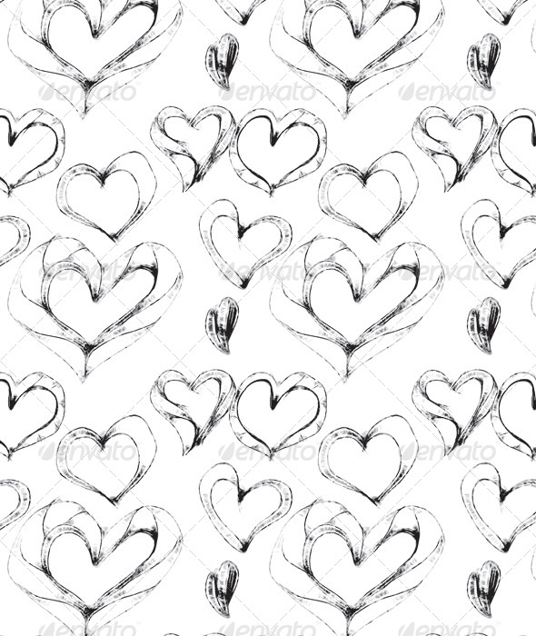 GraphicRiver Hand Drawn Sketchy Heart Seamless Pattern 6176473