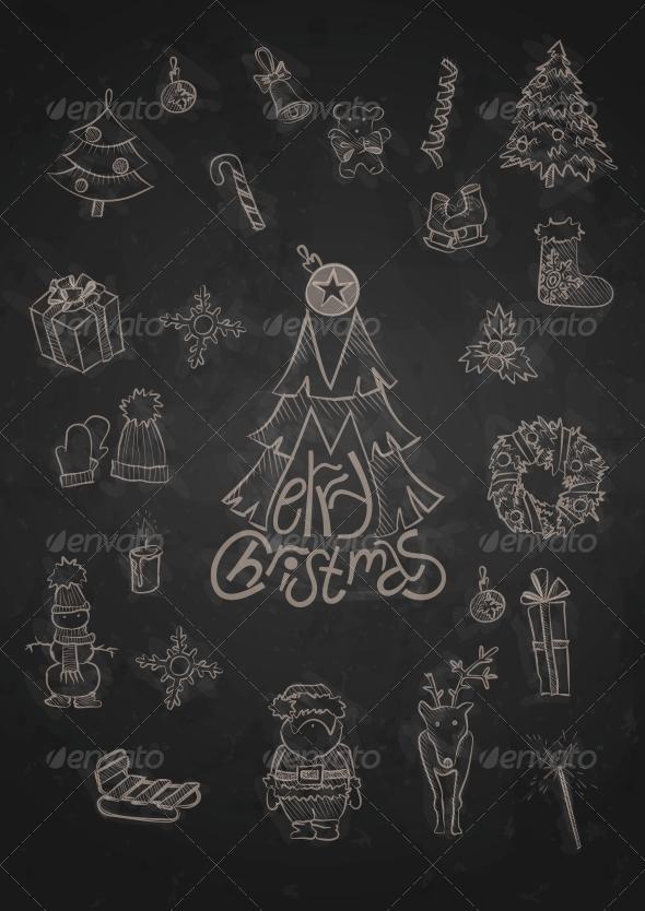GraphicRiver Hand Drawn Christmas Set 6176544
