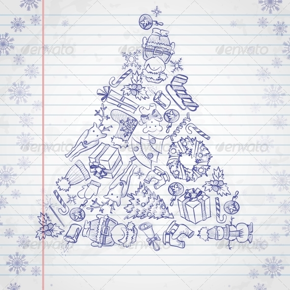 GraphicRiver Hand Drawn Christmas Set 6176548