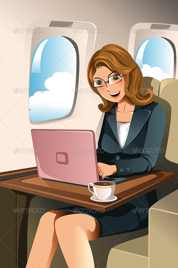 GraphicRiver Businesswoman in the Airplane 6176630