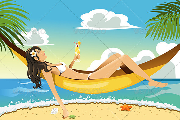 GraphicRiver Beach Woman 6176722