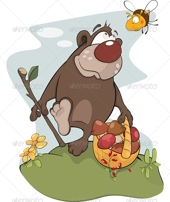 Bear and Bee Cartoon