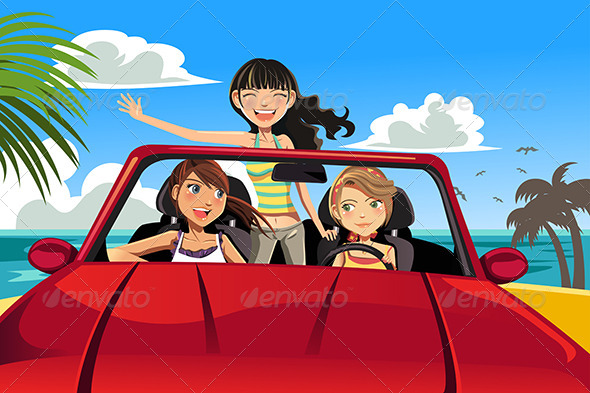 GraphicRiver Friends in a Car 6176977