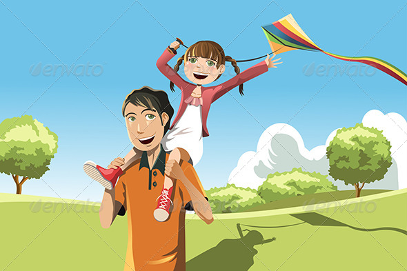 GraphicRiver Father Daughter Playing Kite 6176980