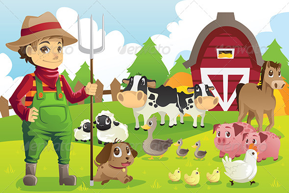 GraphicRiver Farmer at the Farm with Animals 6177160