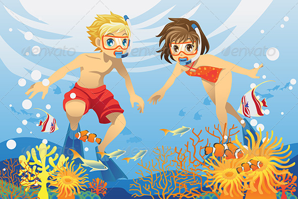 GraphicRiver Kids Swimming Underwater 6177168