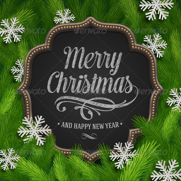 GraphicRiver Chalkboard with Christmas Greeting 6177192