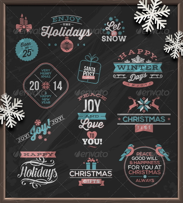 Christmas Holidays Signs Emblems and Greetings