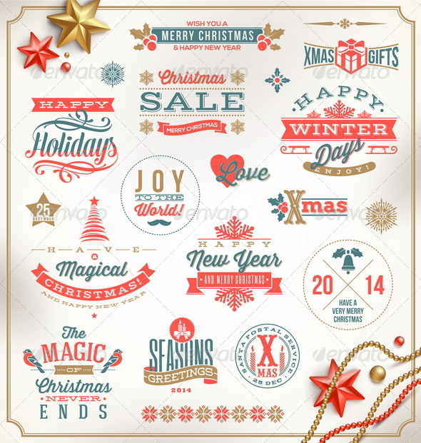 GraphicRiver Set of Christmas Signs Emblems and Greetings 6177748