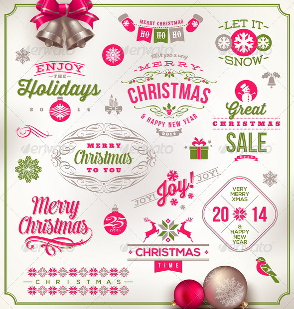 GraphicRiver Set of Christmas Signs Emblems and Greetings 6177775