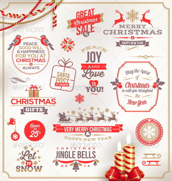 GraphicRiver Set of Christmas Signs Emblems and Greetings 6177799
