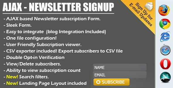 AJAX Newsletter Signup with Admin and CSV Exporter - CodeCanyon Item for Sale