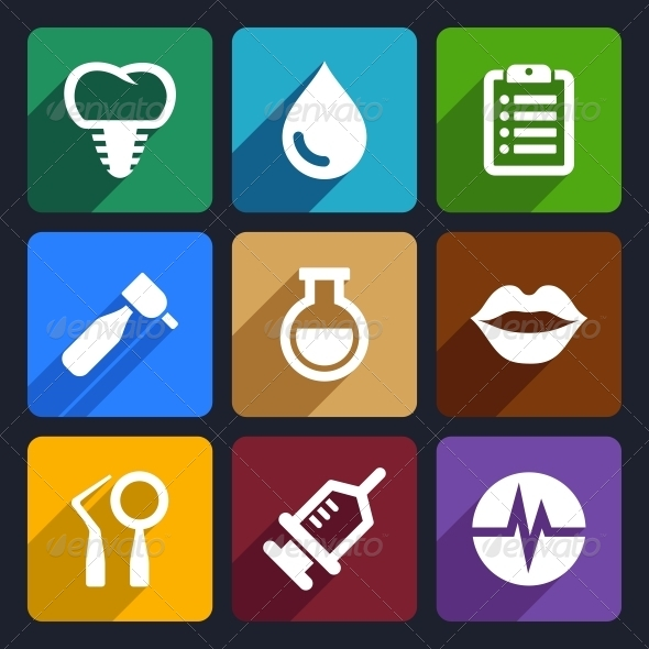 Dental Flat Icons Set 10