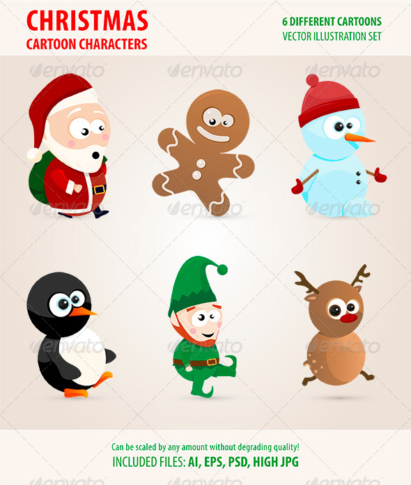 GraphicRiver Christmas Cartoon Characters 6180616