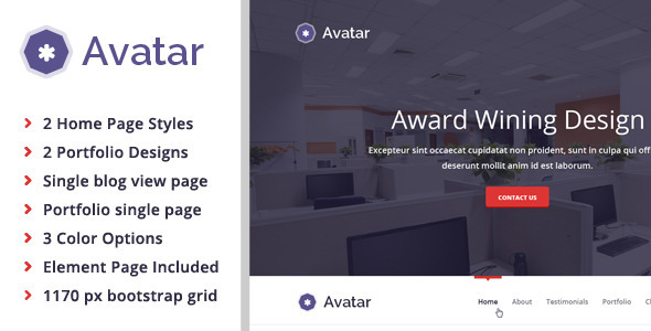 ThemeForest Avatar Corporate & Freelancer One Page PSD 6181135