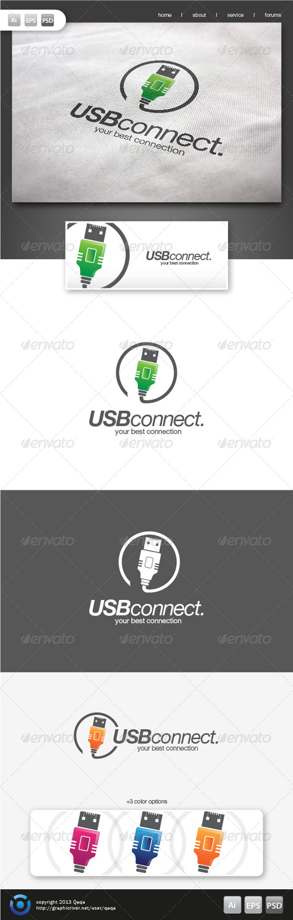 GraphicRiver USB Connect Logo 6181171