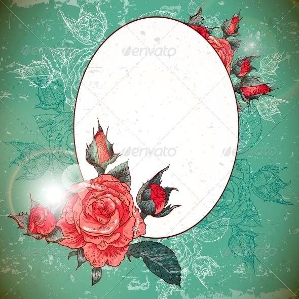 GraphicRiver Romantic Vintage Rose Frame 6181214