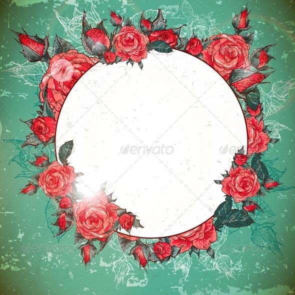 GraphicRiver Romantic Vintage Rose Frame 6181257