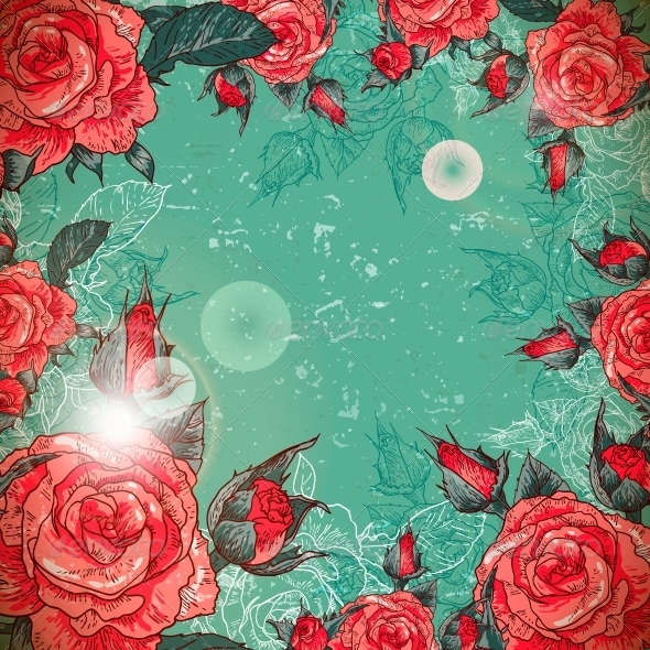 GraphicRiver Romantic Vintage Rose Frame 6181361
