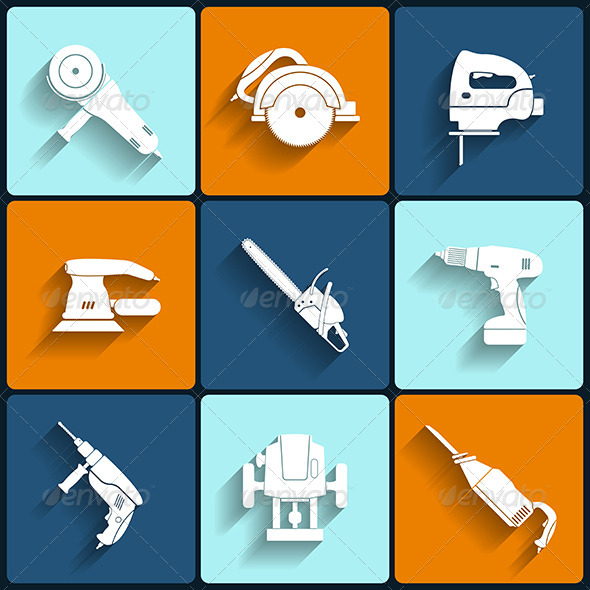 GraphicRiver Electric Tool Flat Icons Set 6173066