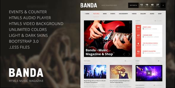 ThemeForest Banda WordPress Music Magazine 6134368