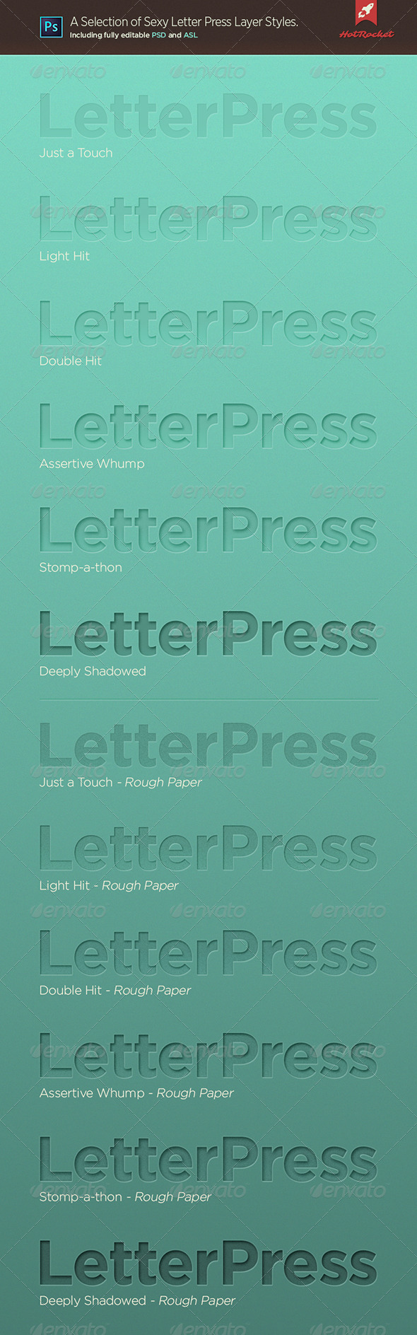 GraphicRiver Letterpress Layer Styles for Photoshop Set1 6182157