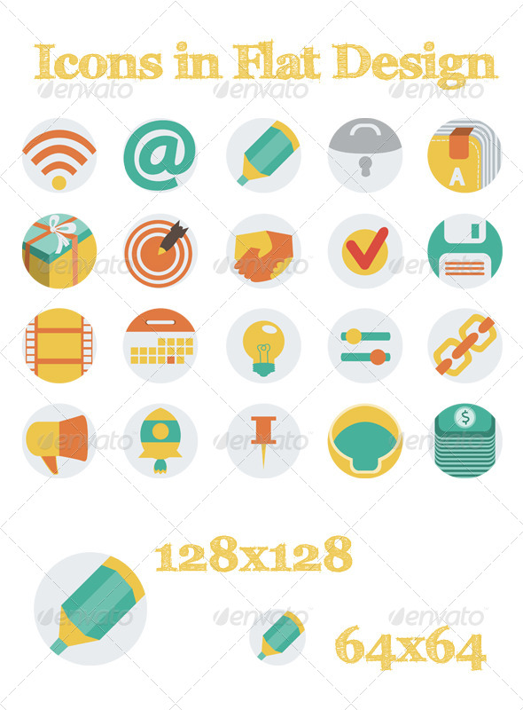 GraphicRiver Icons In Flat Design 6182457