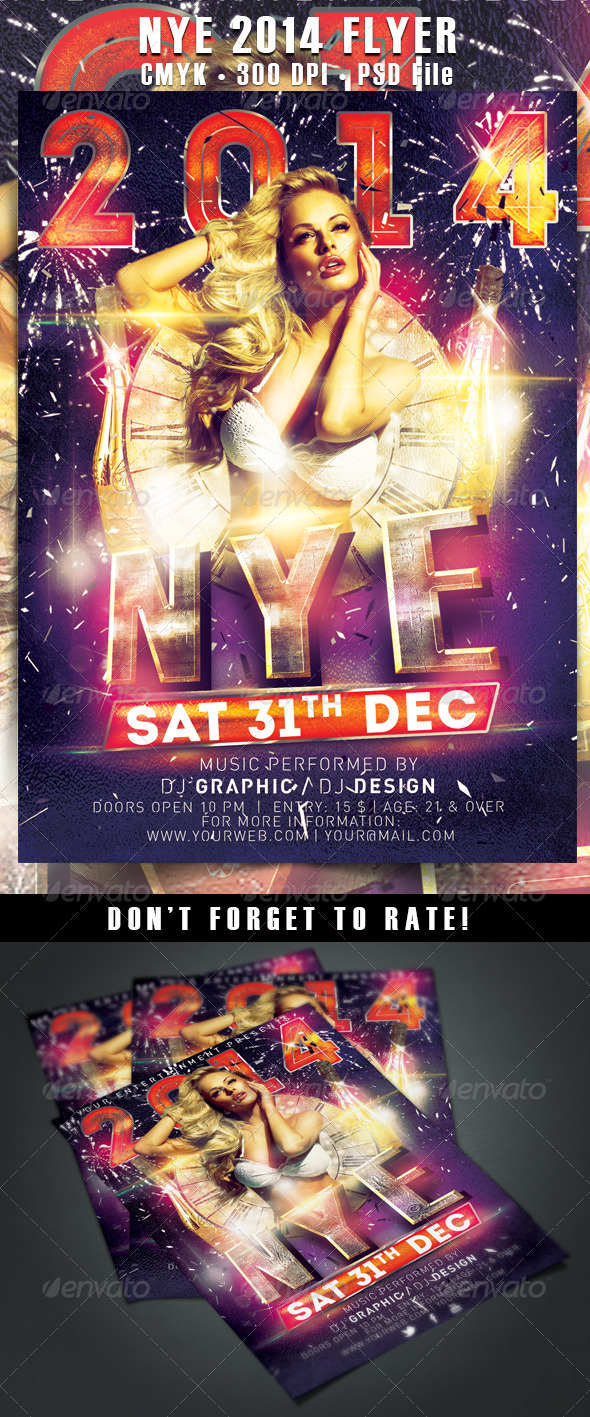 NYE/New Year's Eve 2014 Flyer template - Clubs & Parties Events