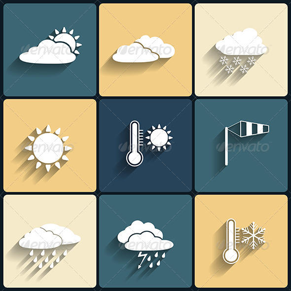 GraphicRiver Flat Design Style Weather Icons Set 6183182