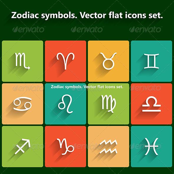 GraphicRiver Zodiac Symbols Flat Icons Set 6183189