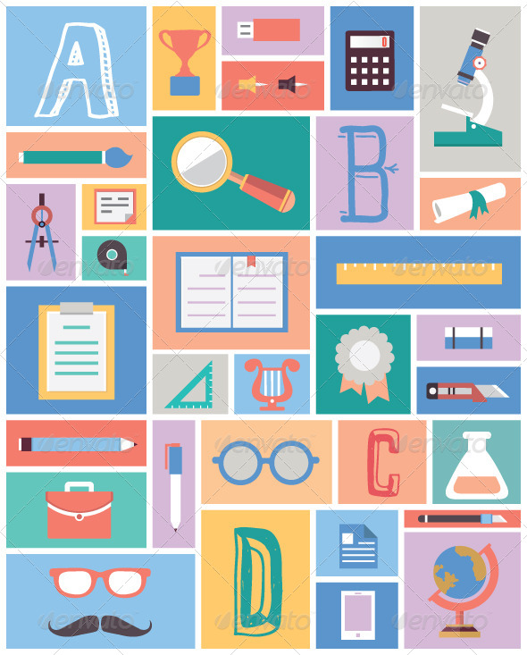 GraphicRiver Set of Education Equipment Flat Style Design 6183469