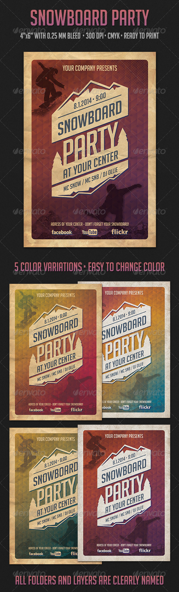 GraphicRiver Snowboard Party Flyer 6183595