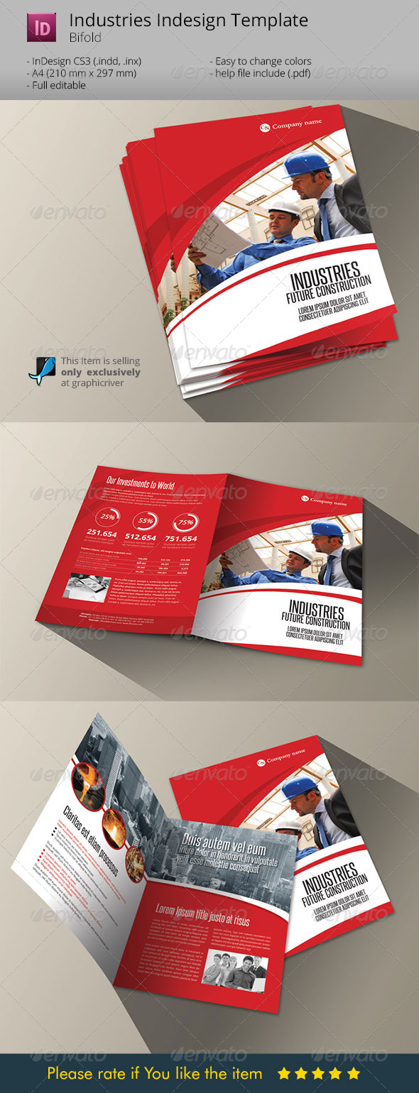 Industries Bifold Template Indesign Brochure A4 - Corporate Brochures