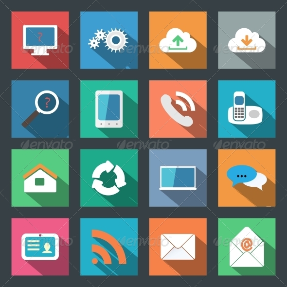 GraphicRiver Communication Icons Set Flat Design 6183648