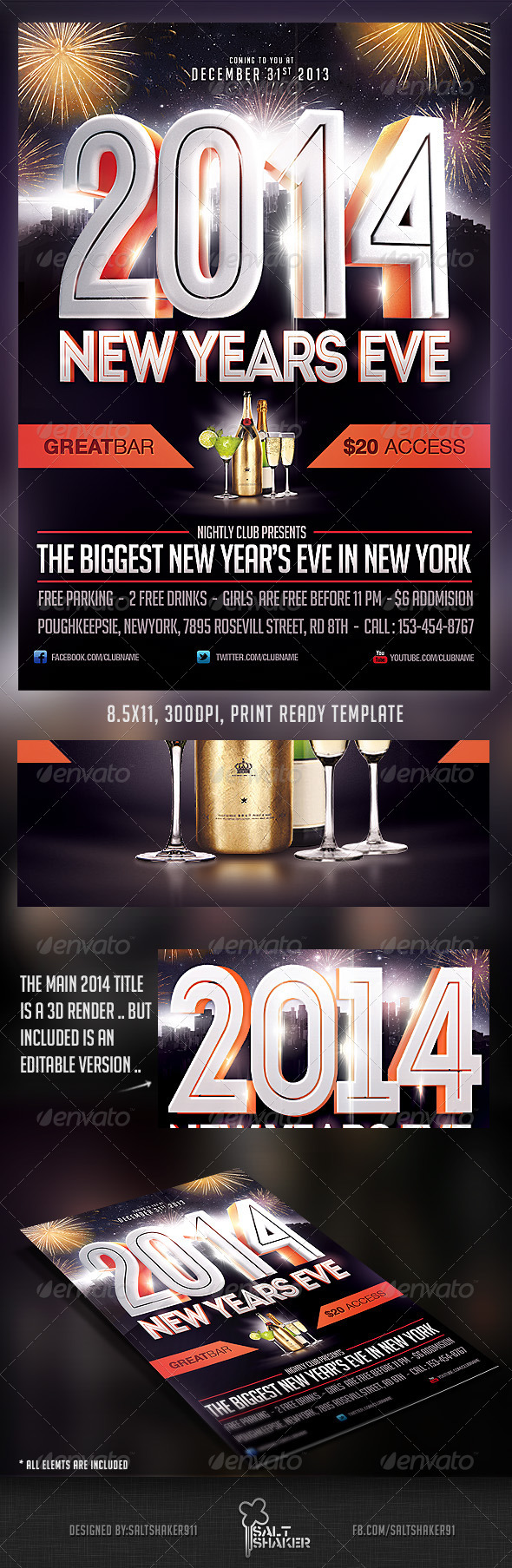 2014 New Years Eve Flyer Template