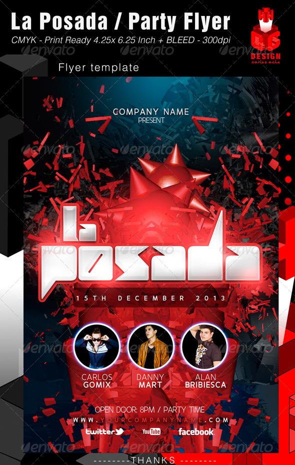GraphicRiver La Posada Party Flyer 6136422