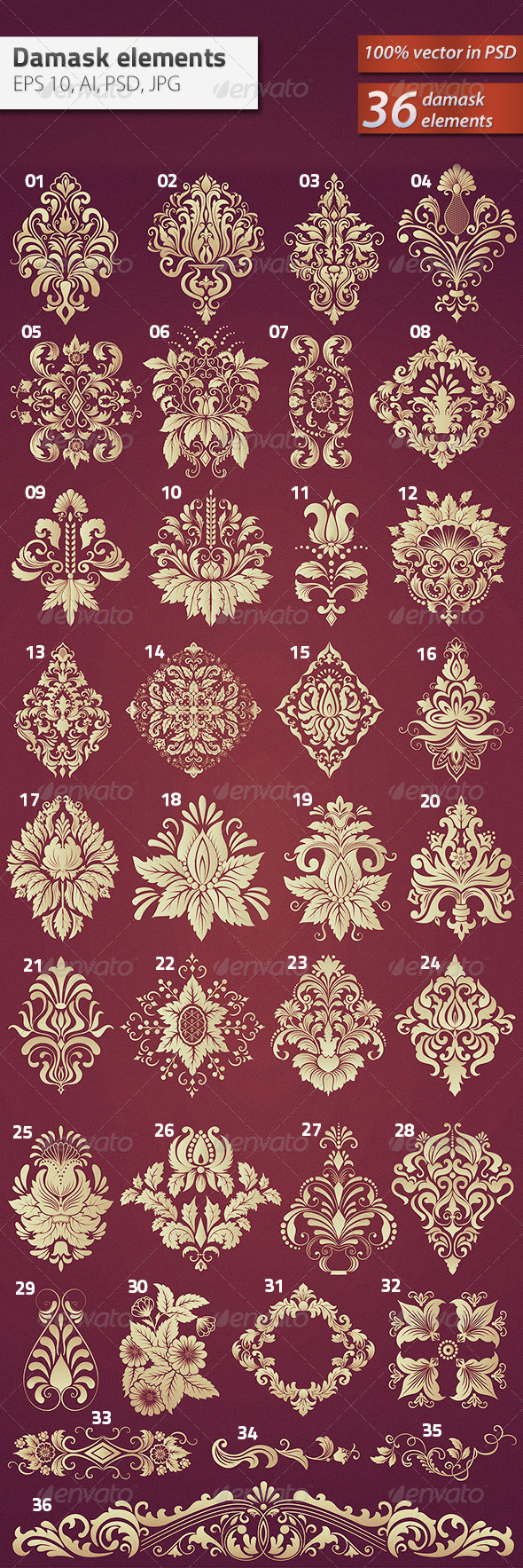GraphicRiver 36 Damask Ornamental Elements 6184104
