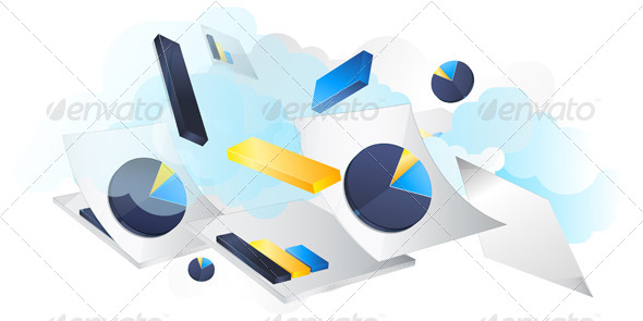 GraphicRiver Business Concept Reports Flying Illustration 6184106