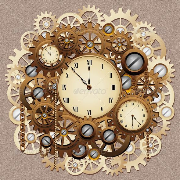 GraphicRiver Steampunk Style Clocks and Gears 6184109