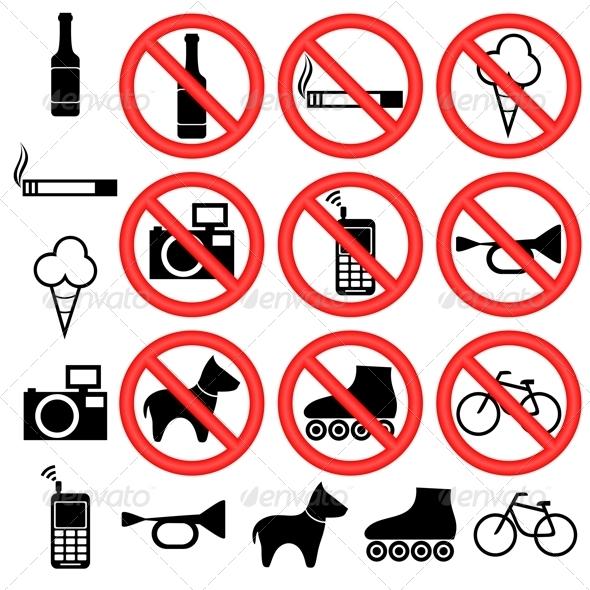 Prohibitory Signs. - Decorative Symbols Decorative