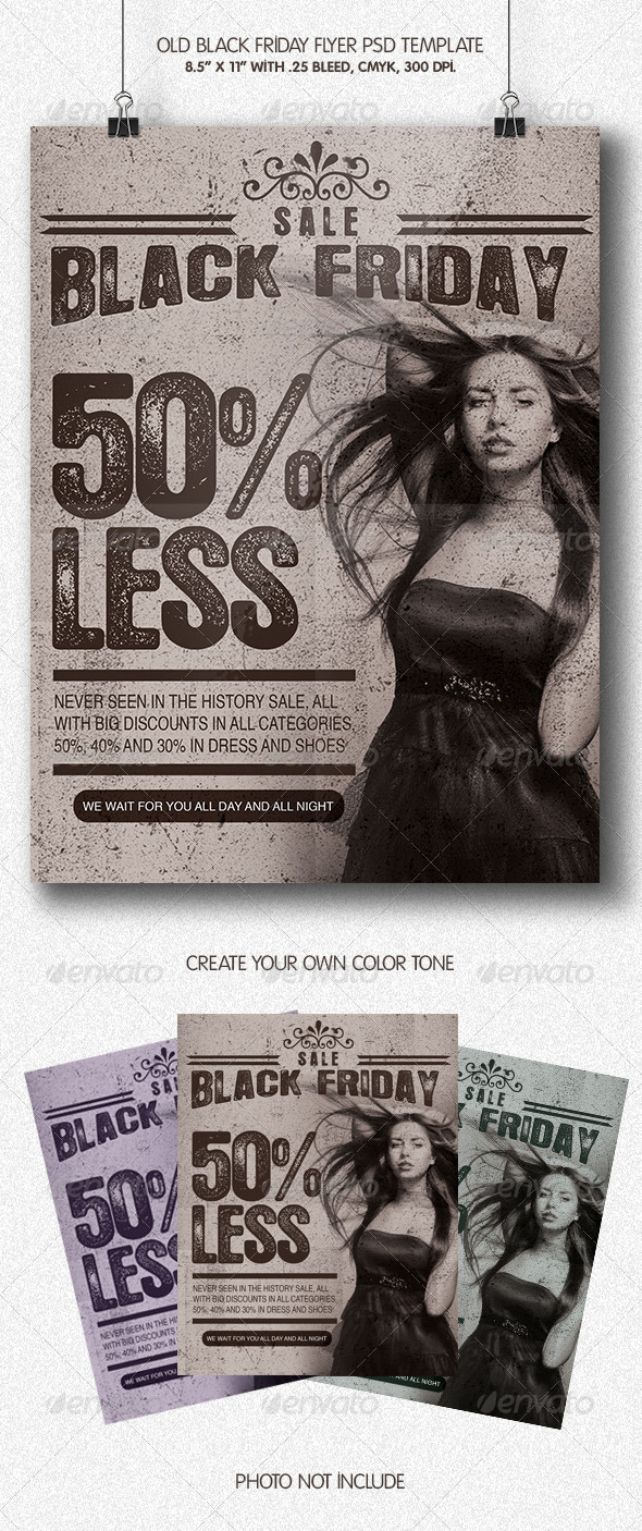 GraphicRiver Old Black Friday Flyer Template 6134684