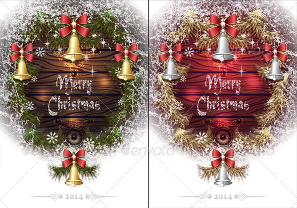GraphicRiver Christmas Frame with Hoar Bells Branches 6184763
