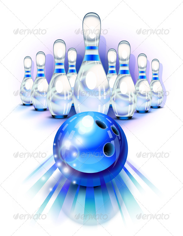 Blue Bowling - Sports/Activity Conceptual